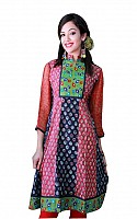 Jaipur Kurti Red Dabu Print Cotton fabric