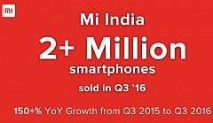 Xiaomi India Claimed to Sold Over 2 Million Smartphones in Q3 2016