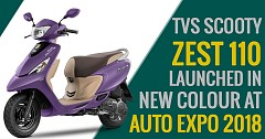 TVS Scooty Zest 110 Launched in New Colour at Auto Expo 2018