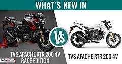 What's New in TVS Apache RTR 200 4V Race Edition vs TVS Apache RTR 200 4V