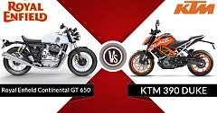 Royal Enfield Continental GT 650 Vs KTM 390 Duke-On Paper Specs Comparison