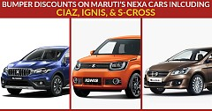 Maruti's Nexa Range Cars Ciaz, Ignis, and S-Cross on Bumper Offer