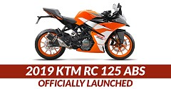 2019 KTM RC 125 ABS Officially Launched; Priced at INR 1.47 lakh