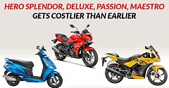 Hero Splendor, Deluxe, Passion, Maestro Gets Costlier than Earlier