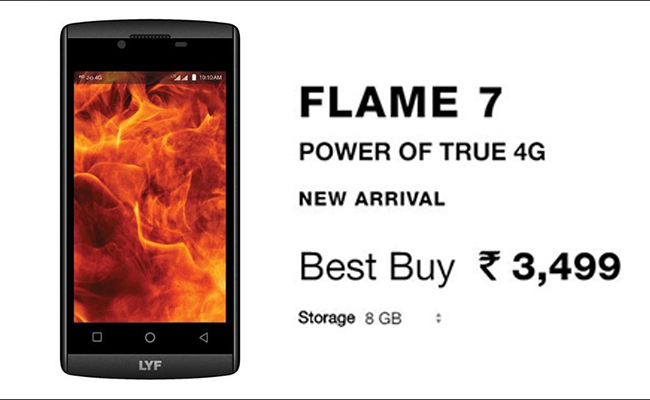 Reliance LYF Flame 7s With Two Years Warranty Launched at Rs 3,499