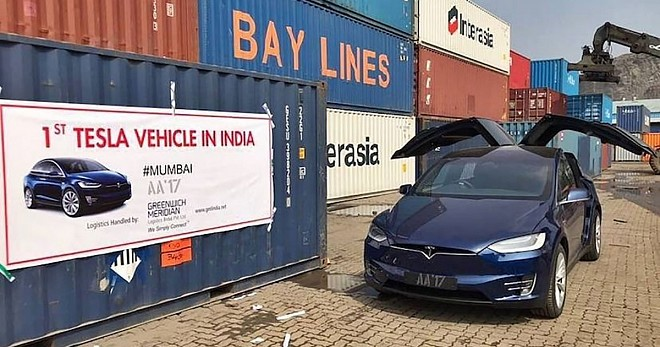 India has received its first ever Tesla Model X SUV from the US