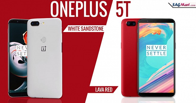OnePlus 5T Sandstone White and Lava Red