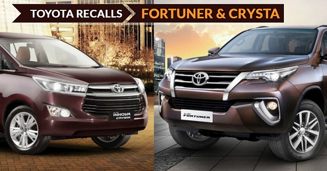 Toyota Recalls Fortuner And Innova Crysta