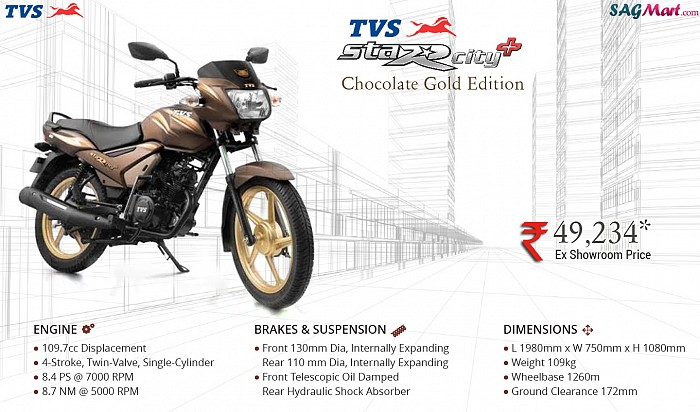 TVS Star City Plus Gold Edition Infographic