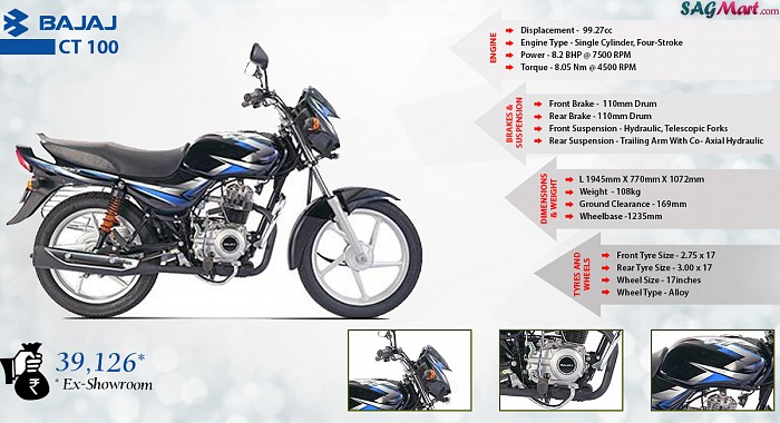 Bajaj CT 100 KS Alloy CBS Infographic