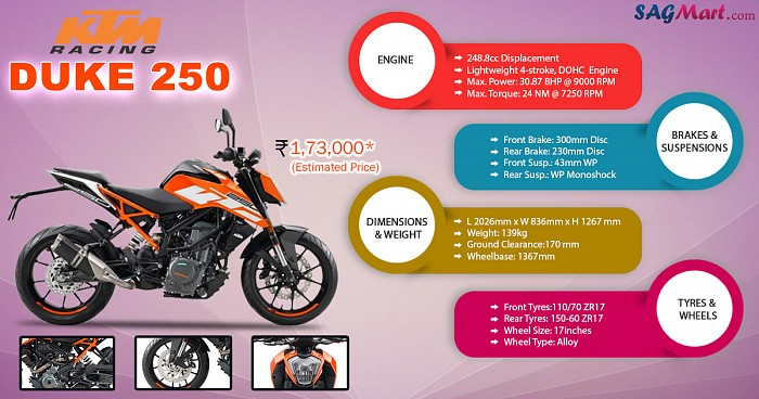KTM Duke 250 STD Infographic