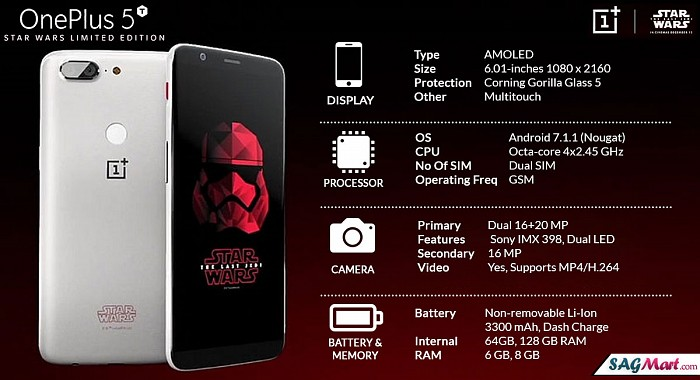 OnePlus 5t Star Wars Limited Edition Infographic