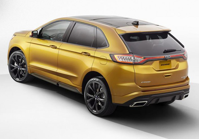Ford Edge 2015 The Side View Of Car Has New Bold Character Lines Interlinked Angular Taillights With LEDs Chrome Finished Twin Exhausted And A