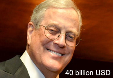 Forbes list of top 10 billionaires around the globe in 2014 for David koch usa