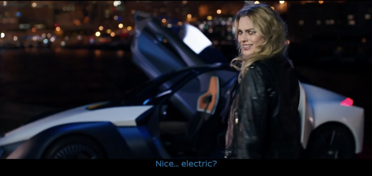 Nissan Electric Vehicle BladeGlider sports car with Margot Robbie