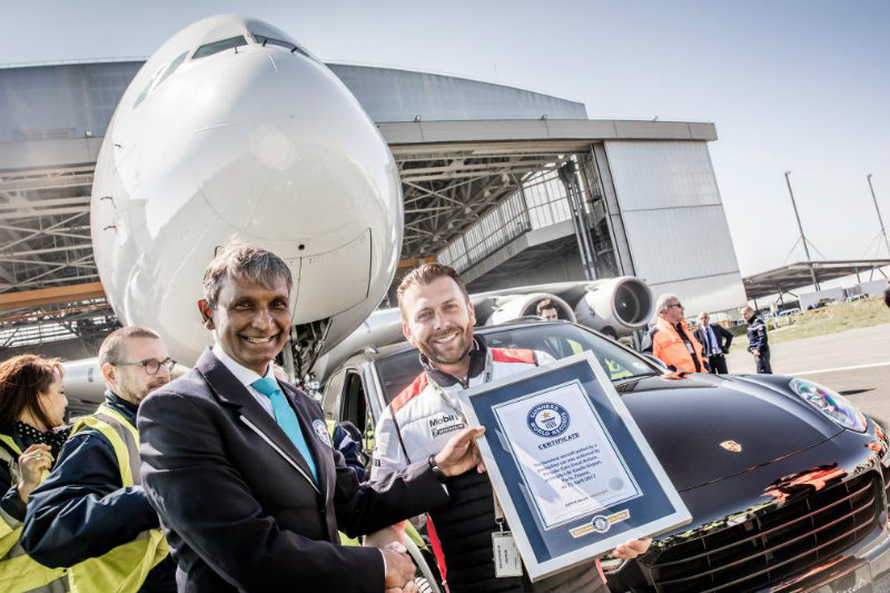 Porsche Cayenne Drags Heaviest Aircraft Airbus A380 listed in Guinness World Record