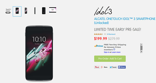 Alcatel OneTouch Idol 3 available to pre-book in US at huge