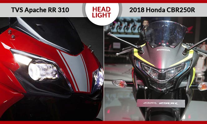 Honda CBR250R vs TVS Apache RR 310 Headlight