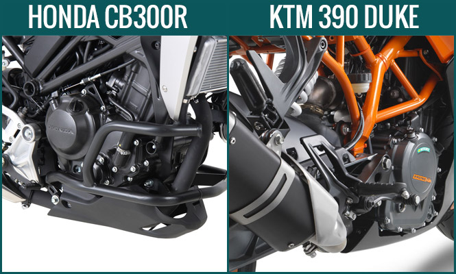Honda CB300R vs KTM Duke 390 Engine