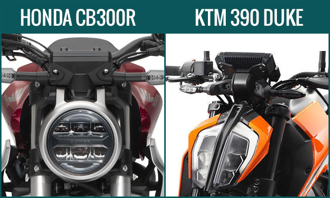 Honda CB300R vs KTM Duke 390 Headlight