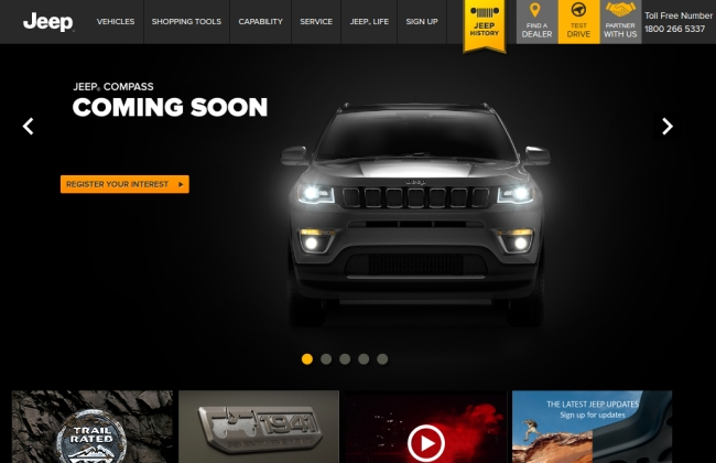 Upcoming Jeep Compass listed on its official Jeep India Website