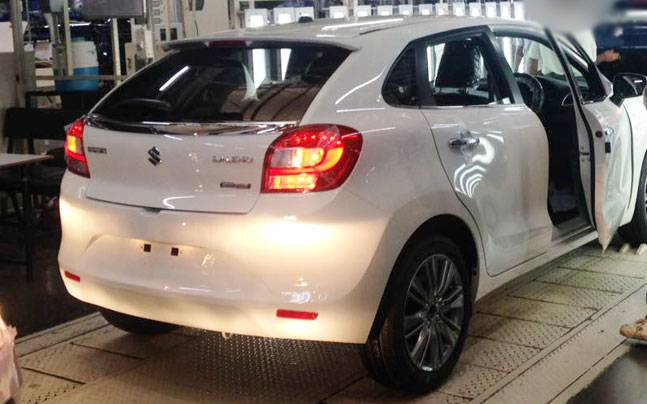 Maruti Suzuki Baleno Hybrid Spied at Production plant side Rear Profile