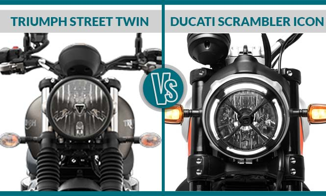 Triumph Street Twin vs Ducati Scrambler Icon Headlight
