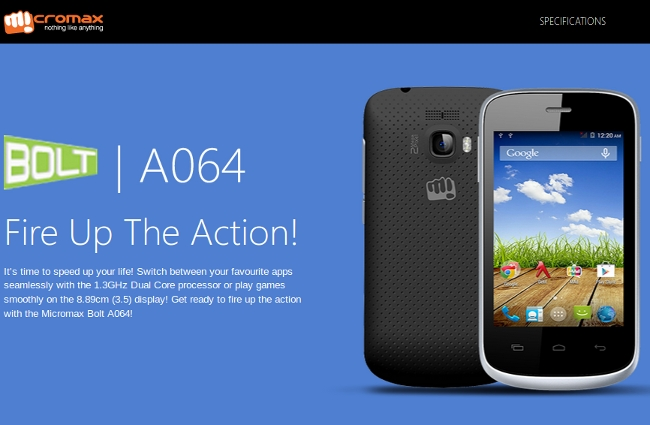 Micromax Bolt A064 on Company Site, Price and Availability ...