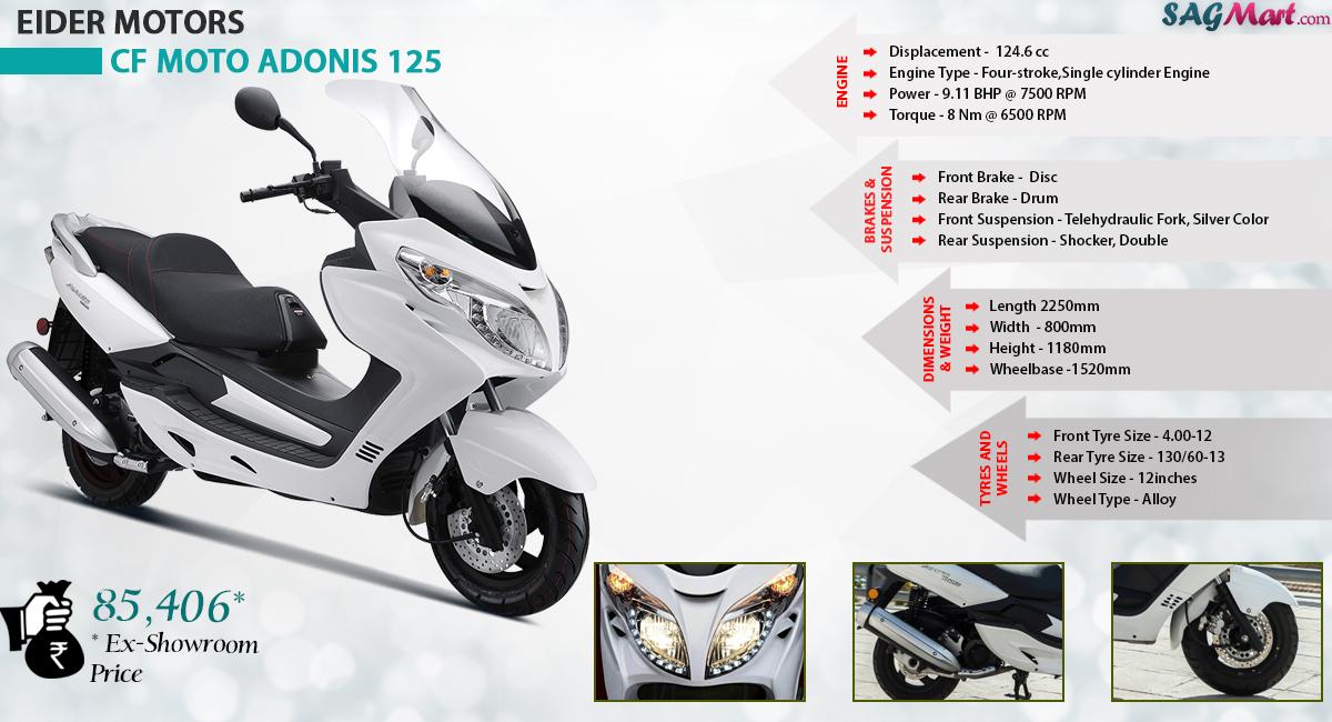Eider Cfmoto Adonis 125 Price India Specifications