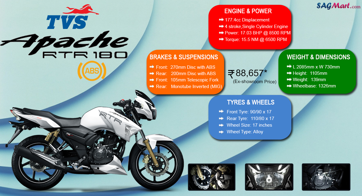 tvs apache rtr 180 abs price india specifications reviews sagmart