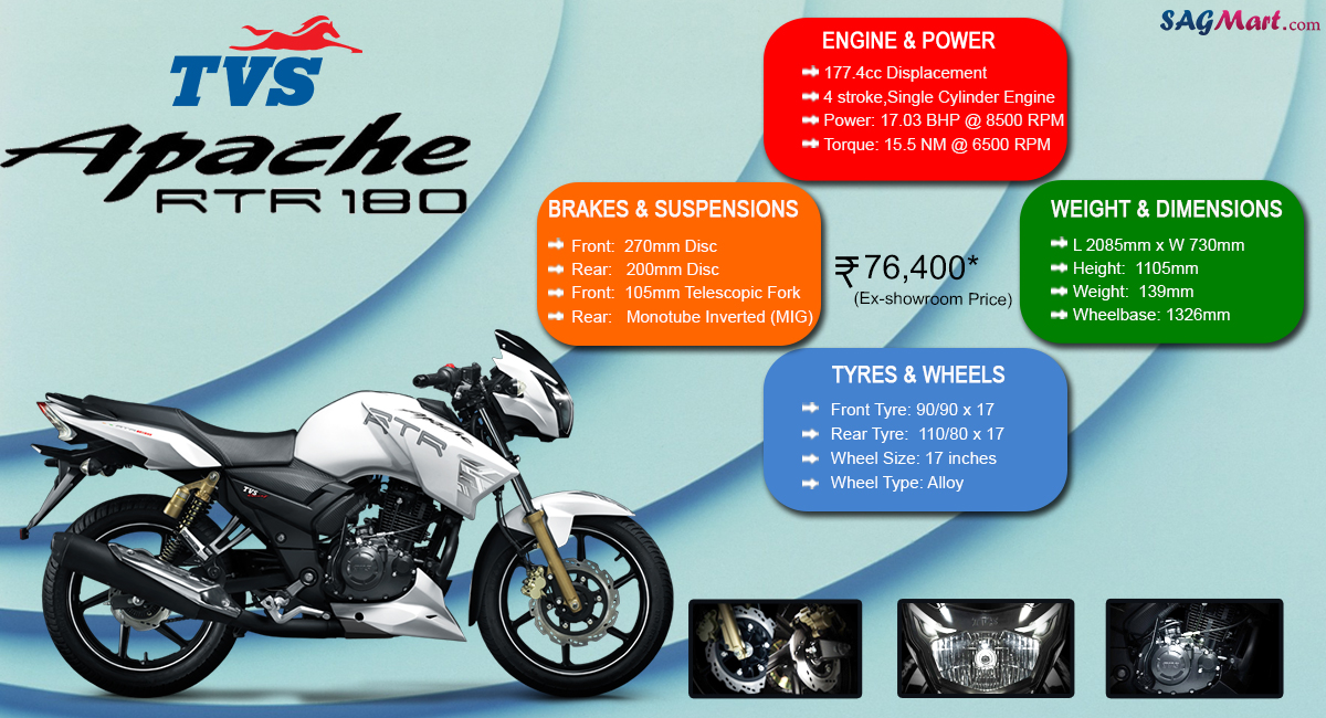 TVS Apache RTR 180 Price India: Specifications, Reviews
