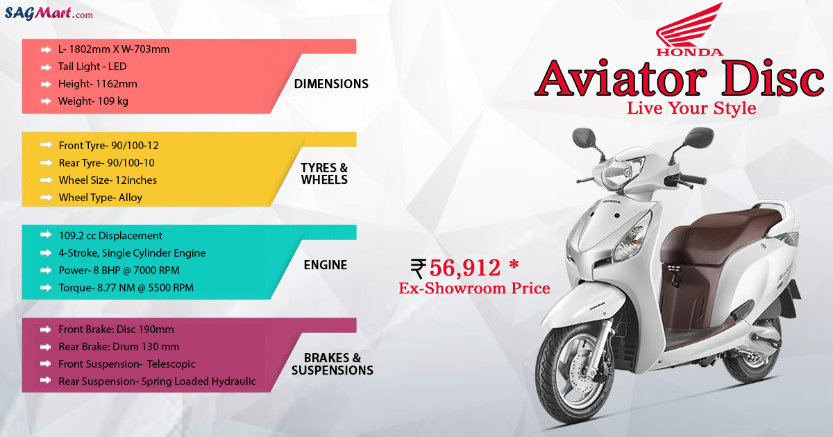 Honda Aviator Disc Price India: Specifications, Reviews | SAGMart