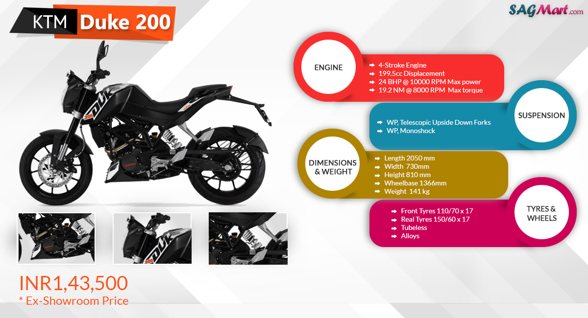2017 ktm duke 200 price india: specifications, reviews | sagmart