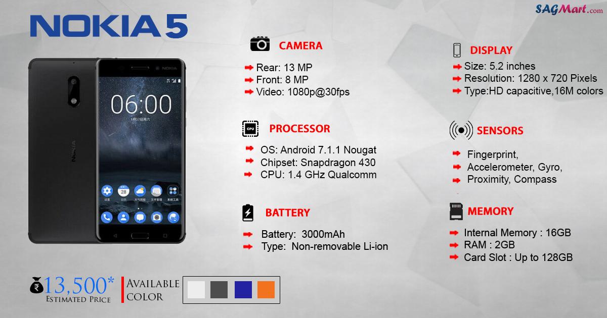 nokia 5 price india specs and reviews sagmart