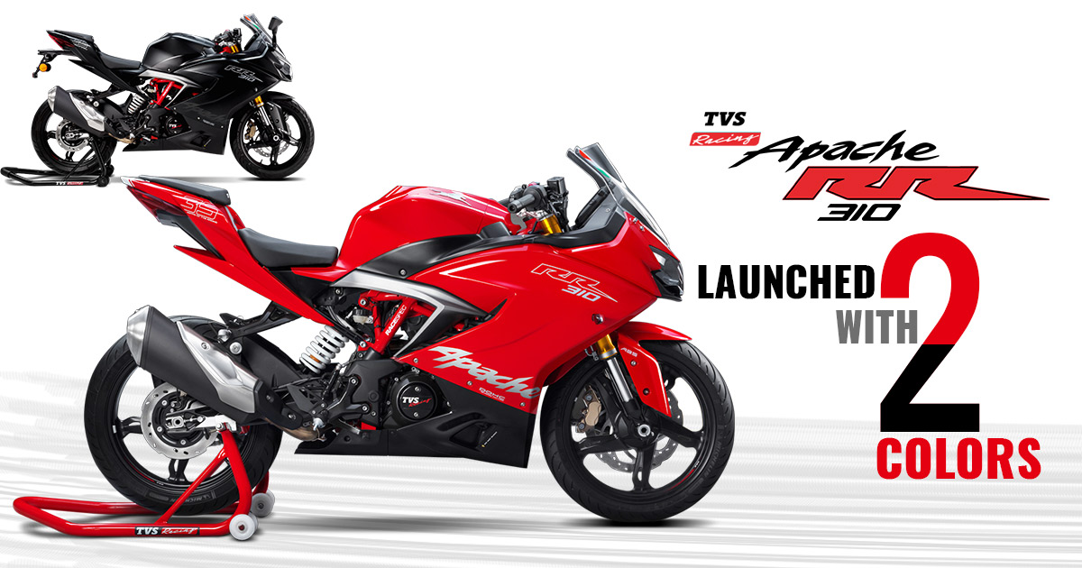 TVS Apache RR 310 Launched With Red & Black Color Options in