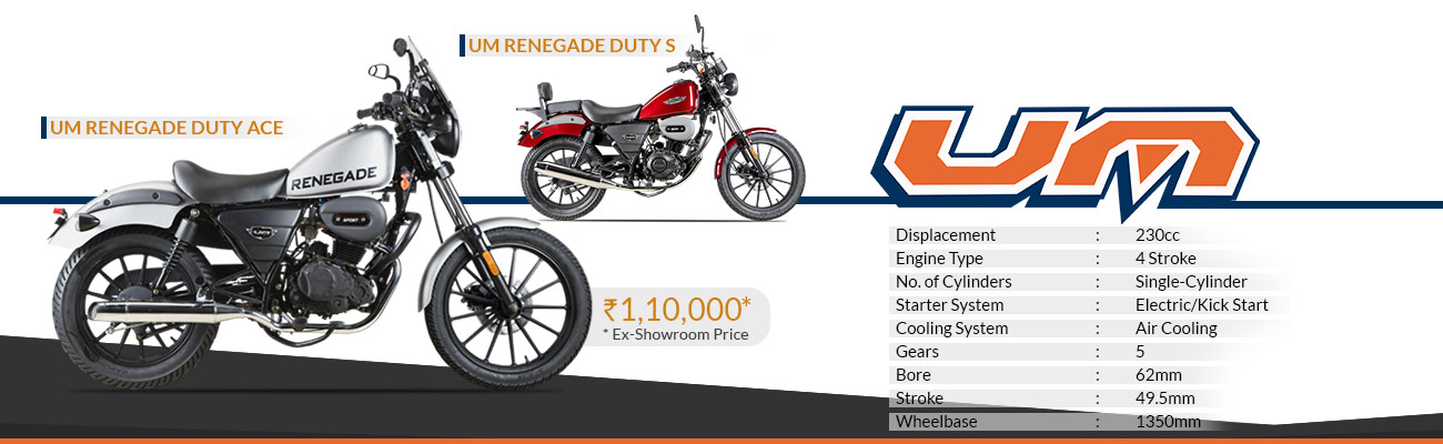 UM Motorcycle Launched Renegade Duty S and Duty Ace