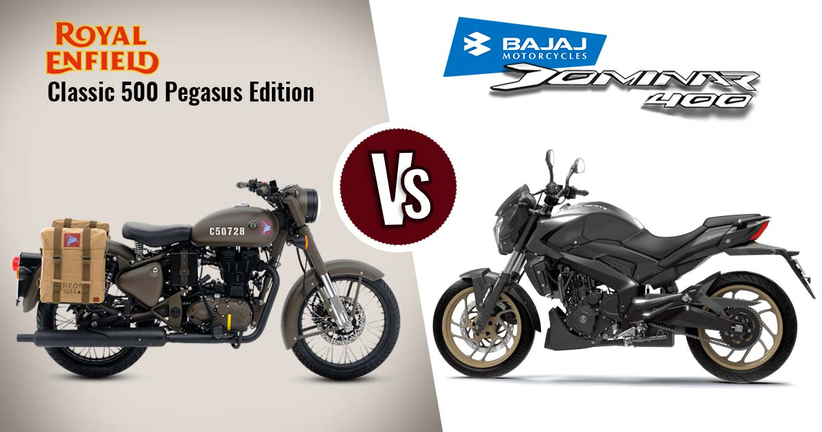 Royal Enfield Classic 500 Pegasus Edition Vs Bajaj Dominar