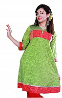 Jaipur Kurti Green Jaal Print Stylish