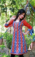 Jaipur Kurti Red color Block printed