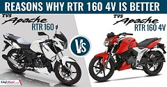 2018 TVS Apache RTR 160 4V vs TVS Apache RTR 160: Reasons Why RTR 160 4V is Better