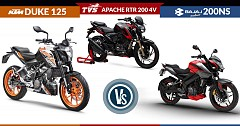 KTM 125 Duke ABS vs TVS Apache RTR 200 4V ABS vs Bajaj Pulsar NS 200 ABS: Specs Comparison