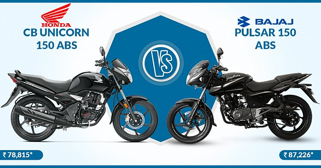 Honda CB Unicorn 150 ABS VS Bajaj Pulsar 150 ABS