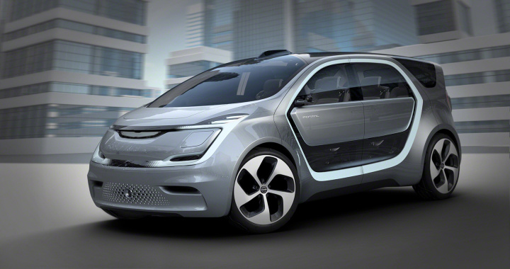 Chrysler Portal All Electric Autonomous Concept front side profile at CES 2017