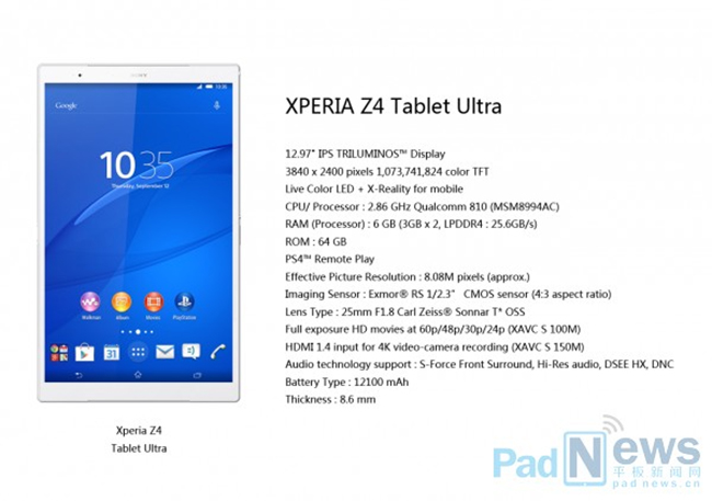 Sony Xperia Z4 Tablet Ultra Specs in Leaks