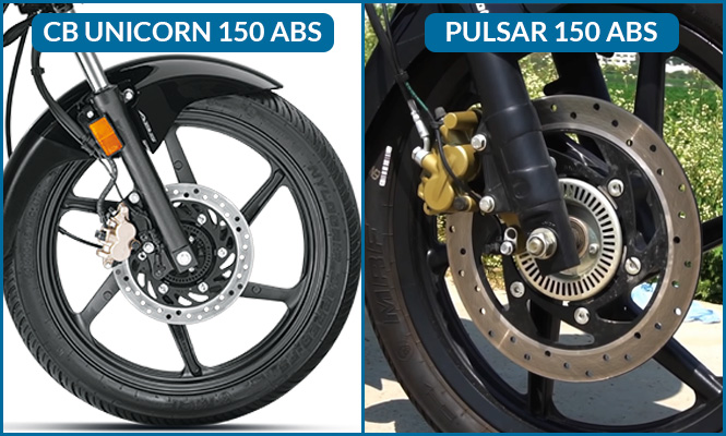 Honda CB Unicorn 150 ABS VS Bajaj Pulsar 150 ABS Brake